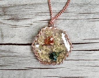 Flower Pendant Resin Necklace Handmade Jewelry Gift Ideas