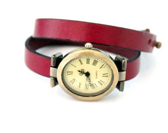 Purple Leather Strap Watch two laps adjustable with brass dial