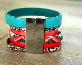 (M) Manchette woven leather and liberty coral and turquoise seed beads, sequin and liberty - snap cuff