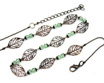 "Bohemian headband ""bronze leaves and beads green water""-headband retro vintage glass brass bronze"