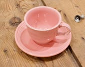 Pink Fiesta ware Tea Cup and Saucer Set by Homer Laughlin USA, Dusty Rose Tea Set, Christmas gift, Replacement china