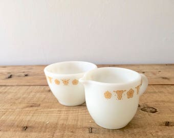 Pyrex Corning Butterfly Gold Creamer and Sugar Bowl, Harvest Gold Pyrex Afternoon TeaSet, Christmas Gift, Birthday Gift, Housewarming Gift