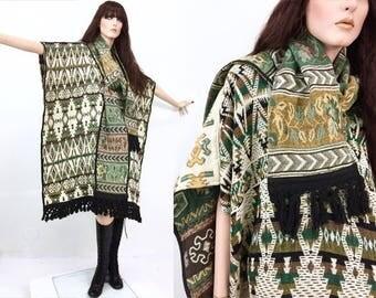 Vintage Southwestern coats • 70s Jacket • bohemian • boho • tapestry coat • Poncho • Ascot • Fringe jacket • festival wear • blanket scarf
