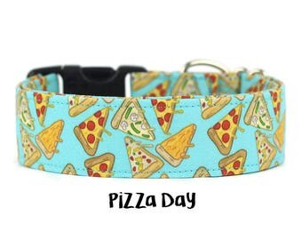 Dog Collar, Pizza Dog Collar, Food Dog Collar, Funny Dog Collar, Boy Dog Collar, Girl Dog Collar (Add Upgrade for Metal Buckle/Martingale)