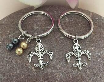 Fleur De Lis Keychain New Orleans Saints NOLA Silver Fleur De Lis Charm Saints Colors Beads Louisiana Saints Jewelry Mardi Gras keychain