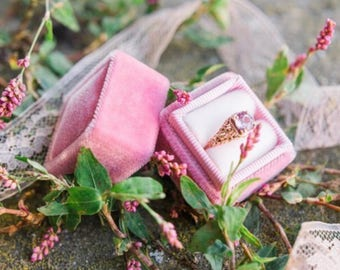 Ringbox in Old Rose Vintage Velvet Styled Ribbon and Rosy Velvet For Weddings and Engagements, Two Ring Box For Wedding Sets