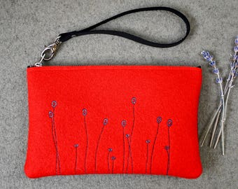 Wool Felt Clutch, Red Clutch, Leather and Felt Purse, Felt Bag, Felt Purse, Wool Handbag, Bridesmaid, Bride, Wedding Gift