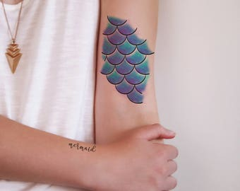 Mermaid scales temporary tattoo / mermaid temporary tattoo / bohemian temporary tattoo / sea tattoo / mermaid gift / mermaid word tattoo