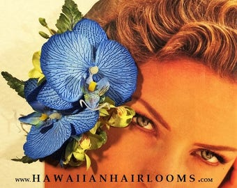 MOANA BLUE-Hawaiian flower hair clip,Silk orchids hair clip,Blue orchids hair,Tropical hair flower,Pinups,Hula flowers,Bridal,Weddings,Blue.