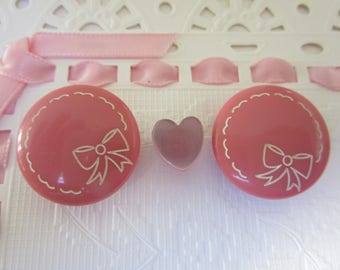Pair of sweet Pink vintage buttons - plastic - etched bow - jolis boutons roses