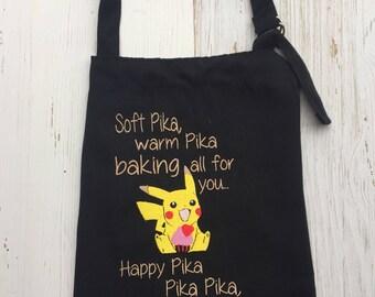 Pikachu Apron / Embroidered apron / Customization avaliable