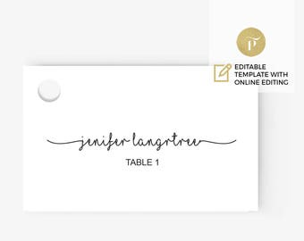 Printable Place Card Template   Instant Download    DIY You print    script writing   rustic   Flat card