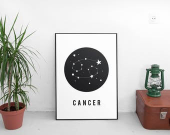 Printable Art,Zodiac, Birthday Gift, Constellation, Cancer Zodiac, Zodiac Cancer, Constellation Print, Zodiac Print, Zodiac Art Print,Poster