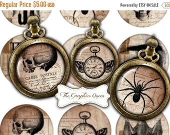 80 % off Summer Sale Vintage Halloween Images 2.5 inches circles Steampunk Jewelry Printable Images Halloween Digital Collage Sheet Cupcake