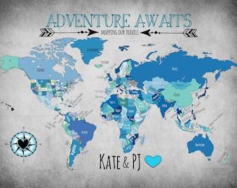 Custom Travel Map/Push Pin Map/ Adventure Awaits!