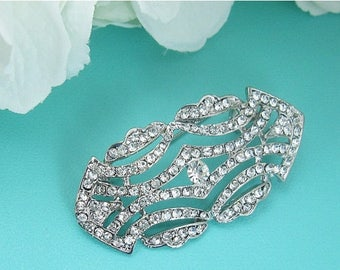 SALE 50% Off Art Deco Wedding Brooch, Bridal Brooch, Rhinestone Crystal Brooch, wedding brooch 208844170