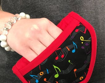 Music teacher gift potholders, music notes oven mitts, rainbow music notes potholders, Mother's Day gift, Microwave mitts