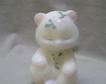White satin fenton glass bear with blossoms