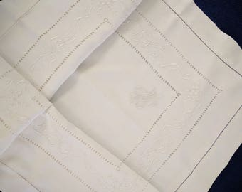 """Fabulous Antique French Linen Pillowcase Monogram """"AF"""", Embroidery"""