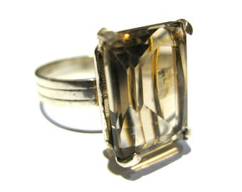 Smoky Quartz ring silver 925%