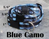 StitchPet Cool Dog Collars for Boy Dogs / Hunting Dog Collar / Collar for Large Dogs / Big Dog Collar /Ready to Ship /Stitchpaint /Blue Camo