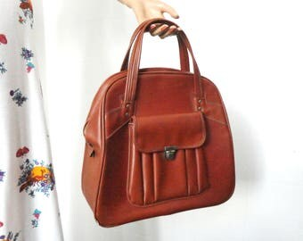 50s Vintage Vegan Top Handle Bag // Brown