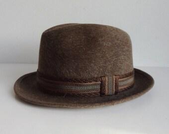 Brown 60s Mens Vintage Fur Felt Hat With Hatband // Sudgate // Size 55