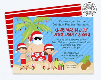Christmas in July Invitation, Christmas in July, Summer Christmas, Summer Santa, Santa in July, xmas July, July Christmas | 129
