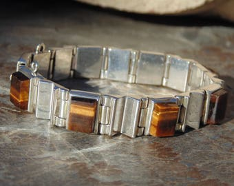 Mexican Sterling Silver and Square Tigers Eye Stone Link Bracelet -  50 Grams