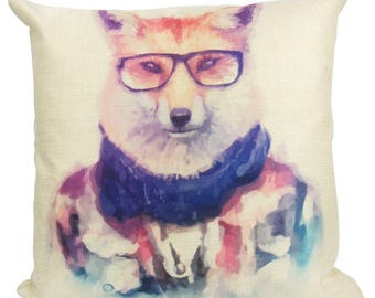 Hipster Fox - Pillow Cover