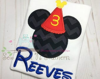 Boys mouse embroidered birthday shirt, Mickey Mouse Birthday shirt, third birthday shirt, 3 birthday, Mickey Mouse appliqued shirt.