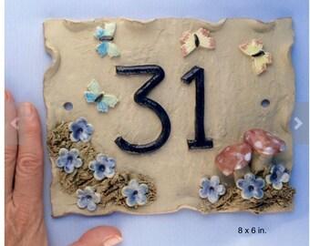 House number plaque, ceramic door number,  address plaque.