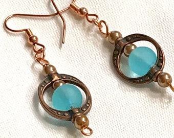 Aqua Sea Glass Copper Dangle Earring / Beauty / Boho / Fun and Affordable