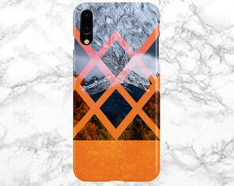 Phone Case - iPhone X Case - iPhone 8 Plus - Protective iPhone Case - Galaxy s8 - Samsung Galaxy Case - White Marble x Mountain Fall Foliage