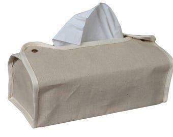 Cover of box with handkerchiefs in ecru 26cm X 12.5 cm H.6cm cotton fabric