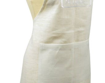 """Kitchen apron in white linen + embroidery """"à table..."""""""