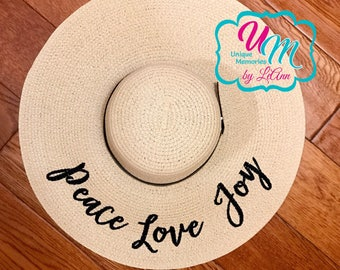 Peace Love Joy Floppy Beach Hat, Personalized Straw Hat, Sun hat, Embroidred floppy hat, Beach Hat, Straw floppy Beach Hat, Cruise, Vacation