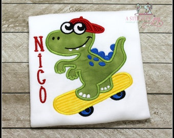 Boys Dinosaur Shirt, Boys Dinosaur Skateboard Shirt, Personalized Boys Shirt, Embroidered Appliqué Shirt or Bodysuit
