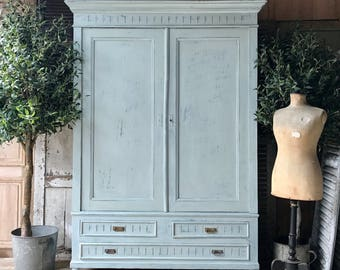 Rustic vintage French handpainted knockdown wardrobe