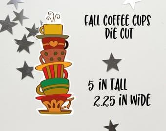 Fall Coffee Cups Die Cut | Fall Coffee | Coffee Cups Die Cut | Planner decoration | Planner Die Cuts |  |TN | Travelers Notebook | Ephemera