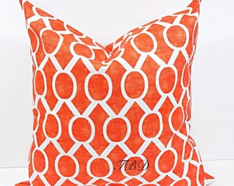 SALE Orange Pillow cover. Burnt Orange and white.Burnt Orange cushion cover.Sham cover. Orange. cushion cover.Pillow case.Choose a size
