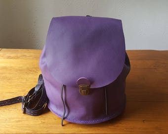 Handmade lilac leather backpack