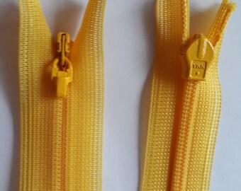 YELLOW nylon covered 3 indivisible vintage zip size 3 (001 YKK) zipper молния cerniera rack fermeture éclair cipzár רוכסן