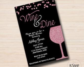 Wine Tasting Pink Sparkle Bachelorette Party Bridal Shower Invitation, Digital file