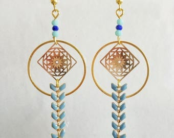 Earrings gold and blue boho chic colorful leather