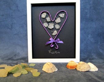 Heart - Sea Glass Heart - Canvas Art - Wall Art Canvas - Mixed Media - Gift for Her - Home Decor - Art and Collectables - Gothic Art Decor