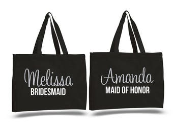 Bridesmaid Gift, Personalized Bridesmaid Tote bags, Bride Tote, Bridal Party Totes, Wedding Bag, Gift for Bridesmaids, Tote Bags