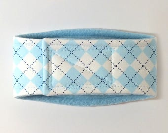 Blue Argyle Male Dog Belly Band, dog diaper, belly bands by trina, dog wrap