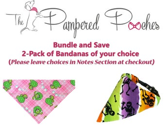 Bundle and Save 2Pack of Dog Bandana, Dog Scarf, no tie bandana, slip on bandana, pet bandana, doggy scarf , scarf for dogs