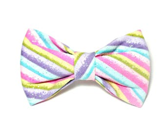 Easter Glitter Stripes Dog Bow Tie, wedding bow, dog collar bow tie, pet bow tie,